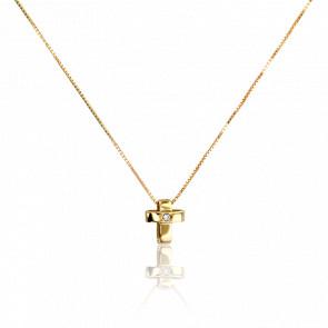 Collier Croix Or Jaune 9K et Diamant