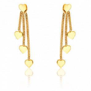 Boucles d'oreilles coeurs pendants, or jaune 9 carats