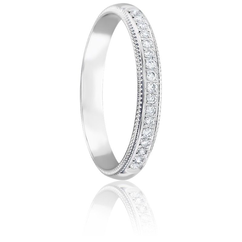 Alliance Bagua 3 mm Or Blanc & Diamants