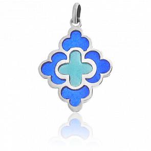 Pendentif Vitrail Trèfle Bleu et Turquoise Or Blanc 18K