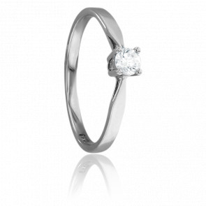 Bague Solitaire Paris Or Blanc & Diamant 0,18ct