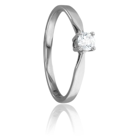 Bague Solitaire Paris Or Blanc & Diamant 0,18ct
