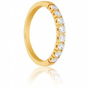 Alliance demi-tour diamants 0,40 ct, or jaune 18K