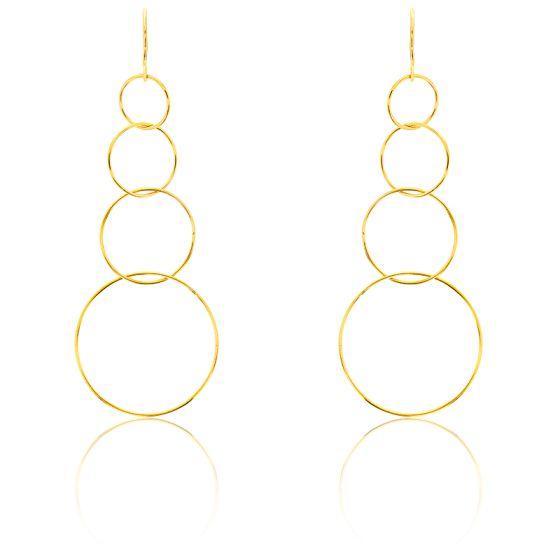 Boucles d'oreilles pendantes, cercles ajourés, or jaune 9k