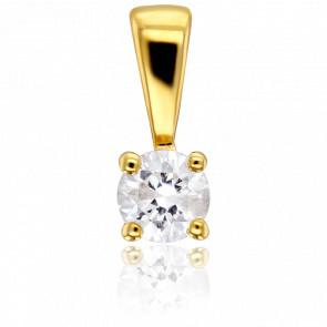 Pendentif 4 Griffes Diamant 0,10 ct & Or Jaune 18K