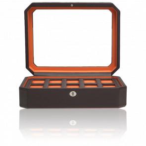 Coffret Simili Cuir Marron Orange Windsor 10 montres