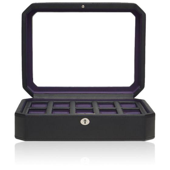 Coffret Simili Cuir Noir Violet Windsor 10 montres