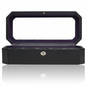Coffret Simili Cuir Noir Violet Windsor 5 montres