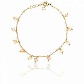 Bracelet Perles Roses Argent Plaqué Or Jaune