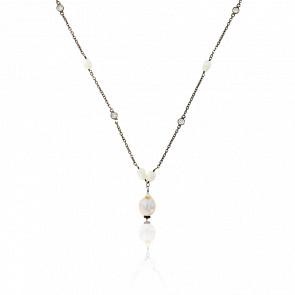 Collier Cascade Grandes Perles & Zircons,  Argent Vieilli