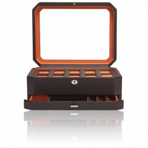 Coffret Simili Cuir Marron Orange Windsor 10 montres avec tiroir