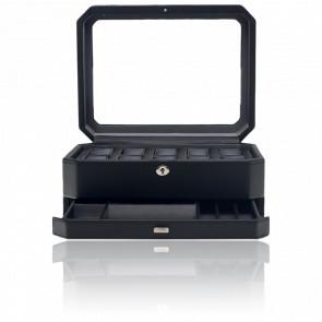 Coffret Simili Cuir Noir Windsor 10 montres avec tiroir