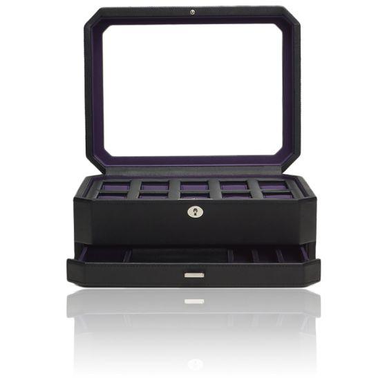 Coffret Simili Cuir Noir Violet Windsor 10 montres avec tiroir