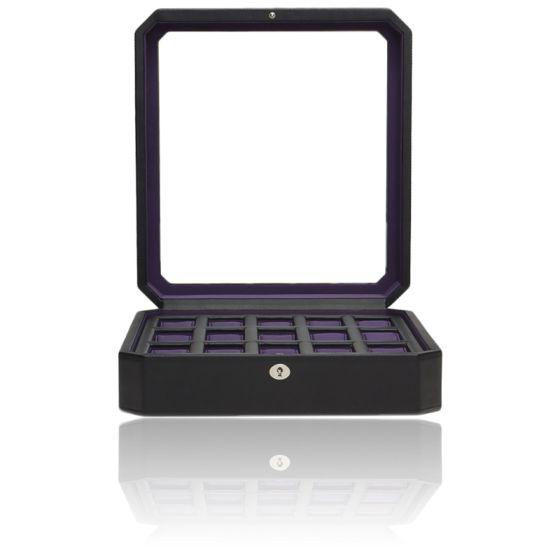 Coffret Simili Cuir Noir Violet Windsor 15 montres