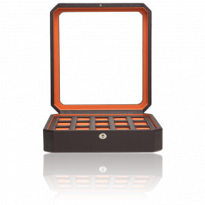 Coffret Simili Cuir Marron Orange Windsor 15 montres
