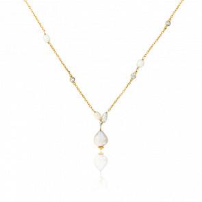 collier perle grise argent