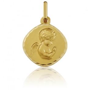 Médaille Carrée Ange en Prière Or Jaune 9K