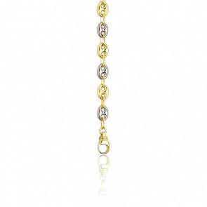 Bracelet Grain de Café creux, 20 cm, 2 ors 18K
