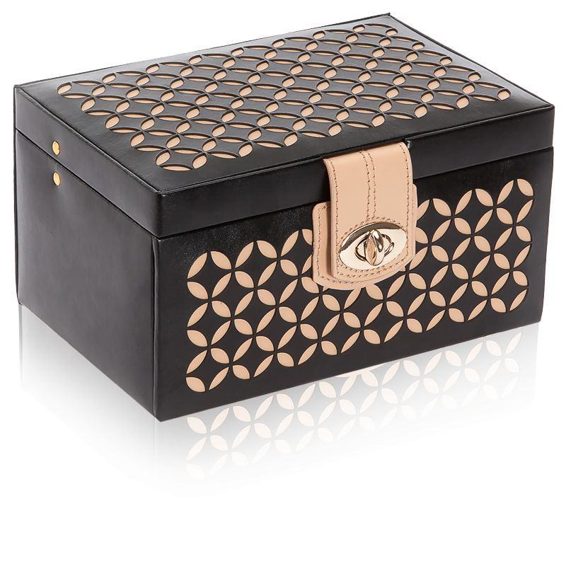 petite boite bijoux chlo en cuir noir wolf ocarat. Black Bedroom Furniture Sets. Home Design Ideas