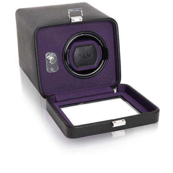 Remontoir Simili Cuir Noir violet Windsor 1 Montre avec Couvercle