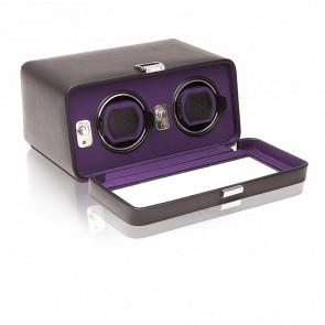 Remontoir Simili Cuir Noir Violet Windsor 2 Montres