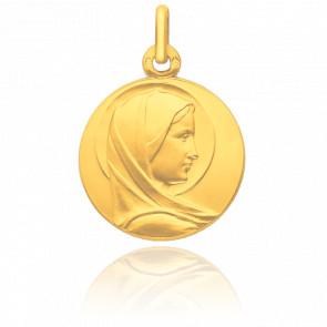 Médaille Ronde Vierge De Profil Auréolée Or Jaune 18K