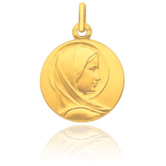 Médaille Vierge Bienveillante Auréolée Profil Or Jaune 18K