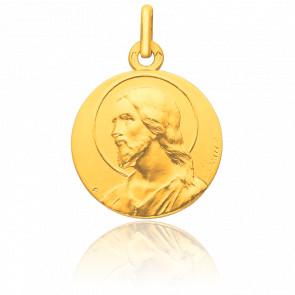 Médaille Christ Auréolé de Profil Or Jaune