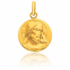 Médaille Visage Christ de Face Or Jaune 18K