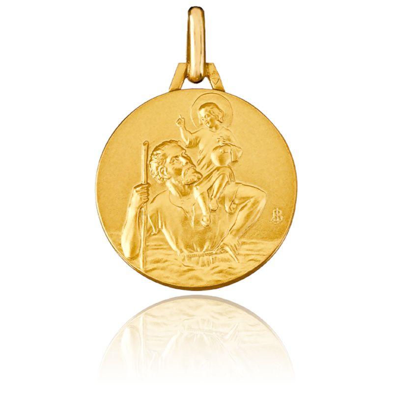 Médaille Saint Christophe Or Jaune 18K Ø 18 mm