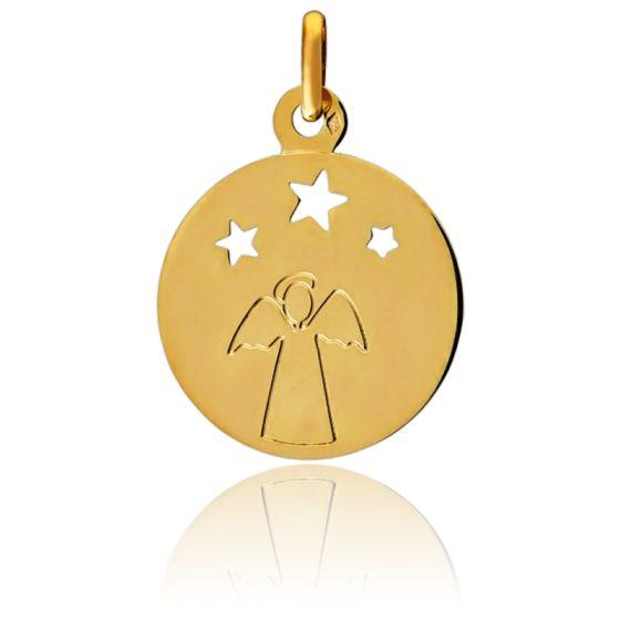 Médaille Ange & Etoiles Or Jaune 9K