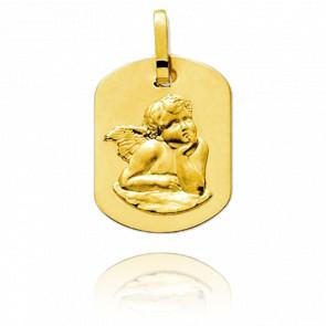Médaille Ange Raphaël Rectangulaire Or Jaune 18K