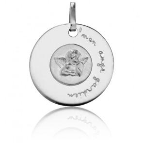 Médaille Mon Ange Gardien Or Blanc 18K