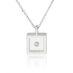 Collier Micro Carré argent et diamant 0.05 carat