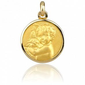 Médaille Ange et Agneau Or Jaune 18K