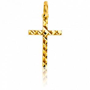 Croix Facettée Polie 15 x 10,5 mm Or Jaune 9K
