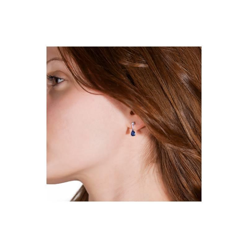 Relative Blue, boucles d'oreilles en or blanc, saphir bleu et diamants - Ocarat ZS99