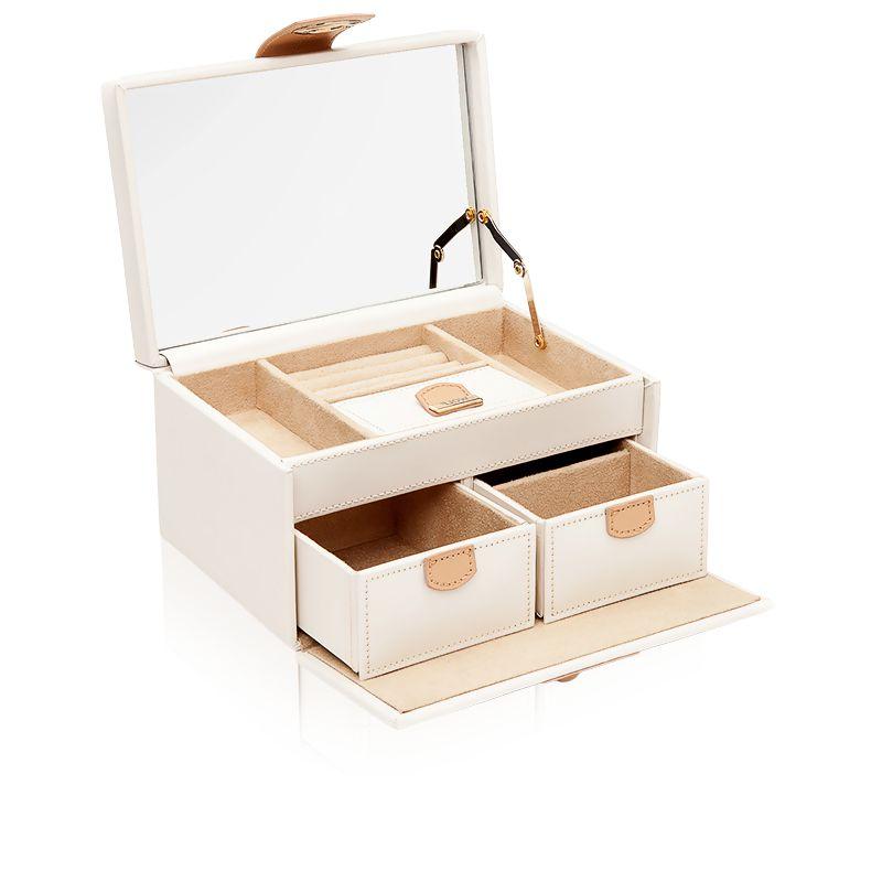 petite boite bijoux chlo en cuir cr me wolf ocarat. Black Bedroom Furniture Sets. Home Design Ideas
