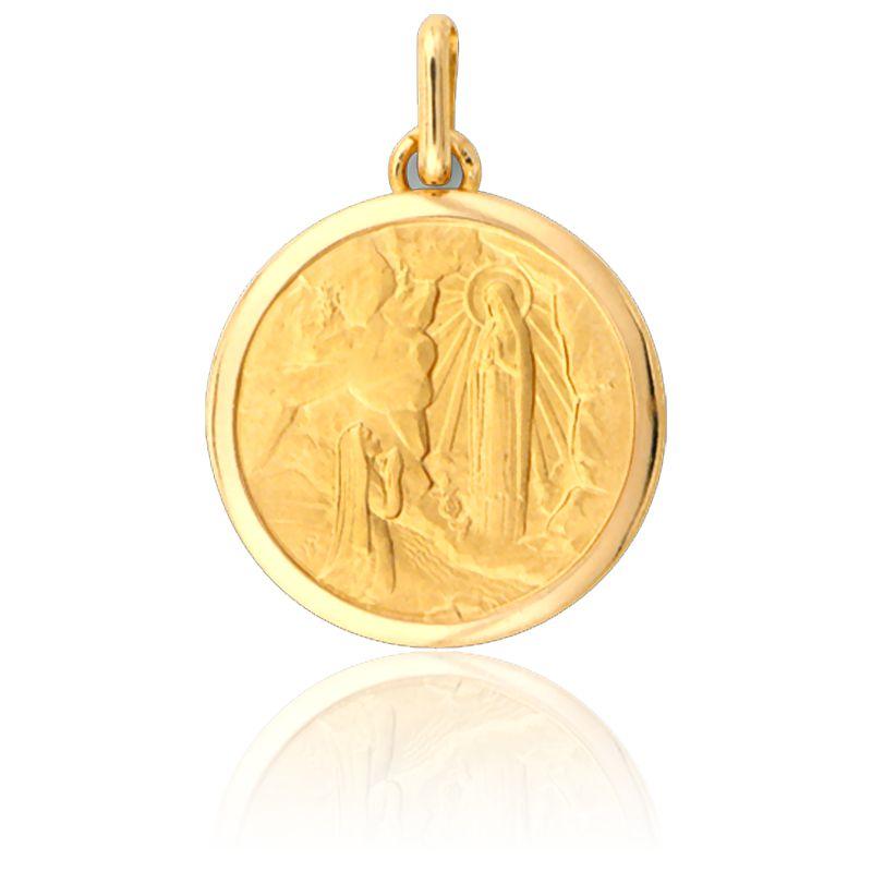 Médaille Sainte Bernadette à Lourdes Or Jaune 18k