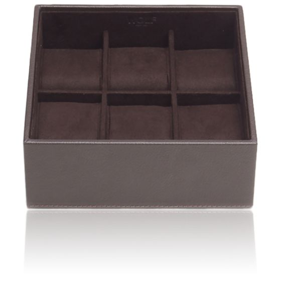 Coffret Standard Simili Cuir Marron 6 Montres Stackable Watch Trays