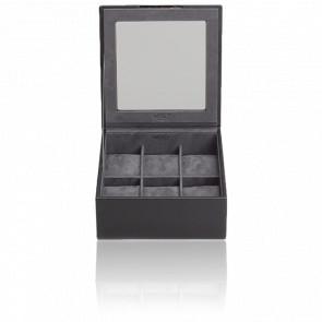 Coffret  Simili Cuir Noir 6 Montres Stackable Watch Trays Couvercle