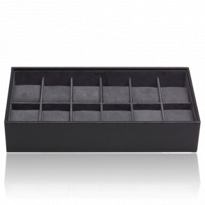 Coffret Standard Simili Cuir Noir 12 Montres Stackable Watch Trays