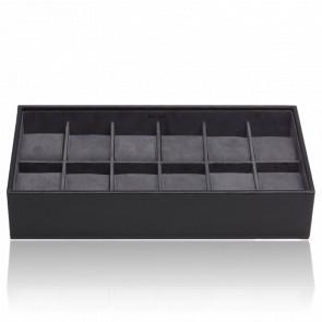 Coffret Standard Simili Cuir Noir 12 Montres Stackable Watch Trays