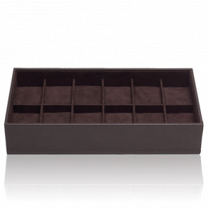 Coffret Standard Simili Cuir Marron 12 Montres Stackable Watch Trays