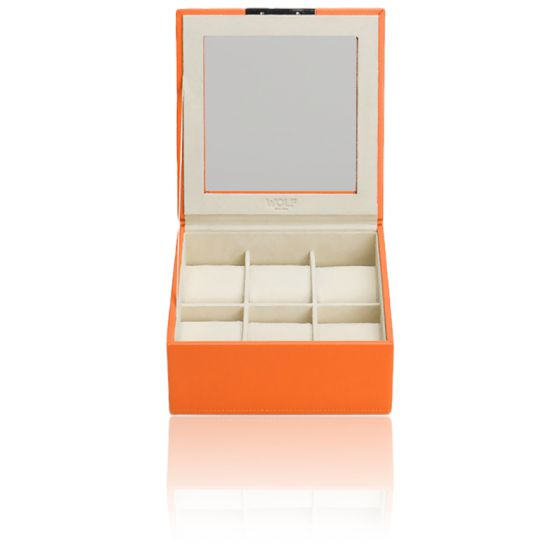 Coffret Simili Cuir Orange 6 Montres Stackable Watch Trays Couvercle