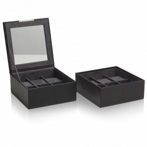 Coffret Simili Cuir Noir 2 Plateaux 6 Montres Stackable Watch Trays