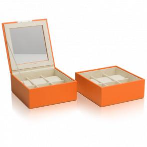Coffret Simili Cuir Orange 2 Plateaux 6 Montres Stackable Watch Trays