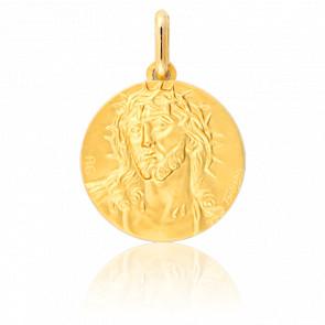Médaille Christ Couronne Epines Or Jaune 9K