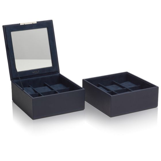 Coffret Simili Cuir Marine 2 Plateaux 6 Montres Stackable Watch Trays