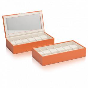Coffret Simili Cuir Orange 2 Plateaux 12 Montres Stackable Watch Trays